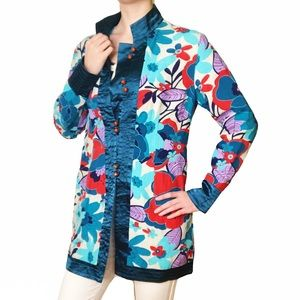 Colorful Floral Pattern Chinese Dress Coat